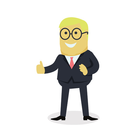 praise: Businesman show gesture thumb up. Young successful man in glasses do business hand gesture shows good job isolated on white background. Approval of the praise and agreement. Vector illustration