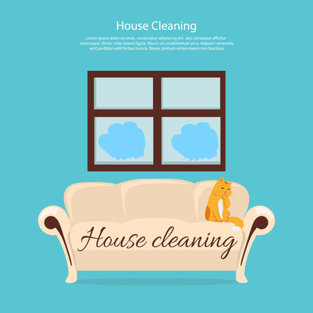 servicio domestico: House cleaning. Cat on sofa design flat. Clean house service, housework and home cleaning, domestic cleaning service, clean room vector illustration