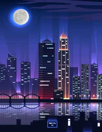 megapolis: Night city. Megapolis high skyscrapers. Great big business city with a very high office buildings reflected in the river in the rays of light on background of moon night. Vector illustration