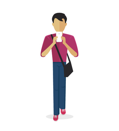 boy at phone: Boy holding hands and looking at his phone are isolated on a white background. Social internet addiction disorder. Vector illustration