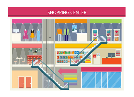 retail place: Shopping center buiding design. Shopping mall, shopping center interior, restaurant and boutique, store and shop with cafe, architecture retail, urban structure commercial vector illustration