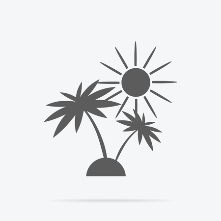desert island: Silhouette of palm trees and sun. Icon black and white palm sunshine travel and leisure. Monochrome combination of tropical plant on a desert island. Sign or symbol exotic holiday. Vector illustration