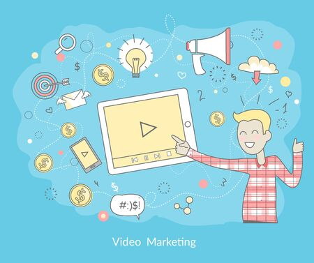 measures: Video marketing. Approaches, methods and measures to promote products and services based on video. Video marketing business flat. Online video, internet marketing technology and media social marketing