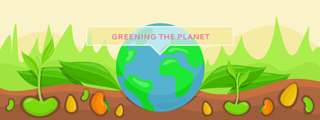 Bannner concept ecology greening planet. Save green planet, plants growing on fertile soil. Conceptual banner protection and care for planet earth. Nature environment bio system. Vector illustration Illustration