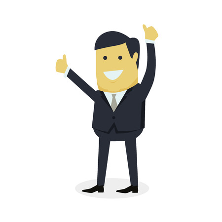 praise: Businesman show gesture thumb up. Young successful man do business hand gesture shows good job isolated on white background. Approval of the praise and agreement. Vector illustration Illustration