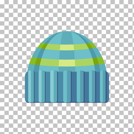 woolen: Winter green wool hat icon. Knitted winter woolen cap isolated on checkered background. Flat icon winter snowboard hat cap. Vector illustration Illustration