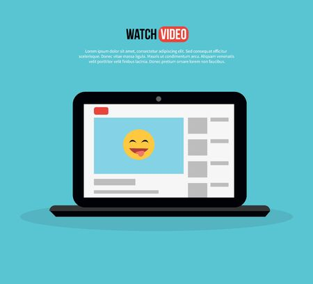 watch video: Watch video. Laptop with page site. Home page of the site to view videos with a funny smiley design flat style. Conceptual banner with mobile computer on a background isolated. Vector illustration