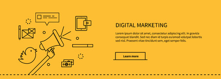 digital marketing: Template web page about digital marketing. Web site page with information about digital marketing. Hand holding a megaphone and around set of icons money and speech bubble. Vector illustration