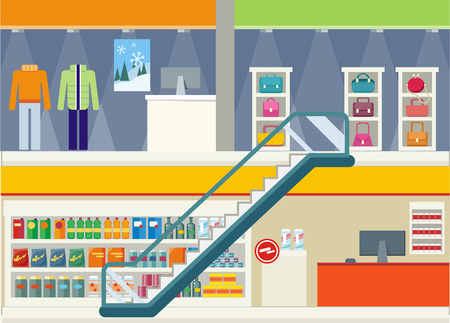 second floor: Shopping center storefronts design. Large shopping center with clothing stores and trendy bags on the second floor. Downstairs grocery supermarket with food cashier for payment Vector illustration