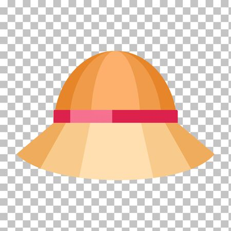 panama hat: Summer hat isolated on checkered background. Fashionable orange Panama hat with red ribbon for protection from sun and rain weather conditions. Garment for wearing on the head. Vector illustration