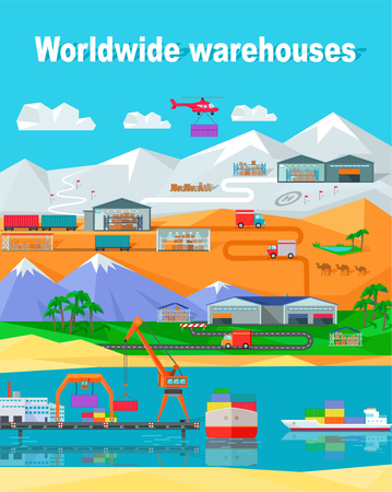 water transportation: Worldwide warehouse design flat. Logistics container shipping and distribution. Transportation by water in the mountains in the desert and in the snow. Loading and unloading boxes. Vector illustration Illustration