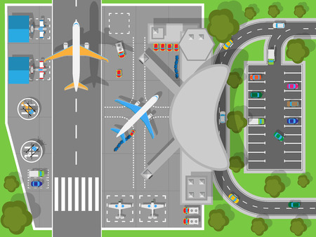 overhead: Airport top view. Terminal aircraft. Infrastructure of a large airport with hangars for aircraft and helicopter landing pad. Building of passenger terminal and parking for cars. Vector illustration