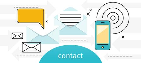 alerts: Contact concept message and speech bubble. Conceptual banner envelope contacts and message. Incoming and outbox alerts. Digital communication dialogue and correspondence. Vector illustration Illustration
