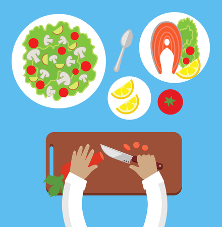 prepare: Prepare a meal top view design flat. Human hands with a knife cutting carrots on a wooden board for a salad. Bowl of salad with mushrooms and tasty dish of fish with lemon. Vector illustration