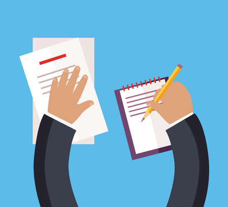 documentation: Documentation concept top view design flat style. Busy businessman works with papers, documents with a pencil in his hand. Pisat on a white sheet of paper or to sign a contract. Vector illustration Illustration