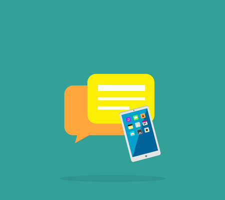 alerts: Contact concept message and speech bubble. Conceptual banner envelope contacts and message smartphone. Incoming and outbox alerts. Digital communication dialogue correspondence. Vector illustration