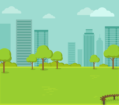 tranquil scene on urban scene: City park with a lawn and trees flat style. Green park with plant environmental and lush grass with a wooden bench on a background of town with business skyscrapers high buildings. Vector illustration