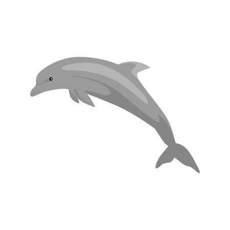 mammals: Monochrome dolphin isolated on white background. Mammals dolphin jumping with a tail and fins. Animals are creatures in the sea or the ocean painted in black isolated on white. Vector illustration