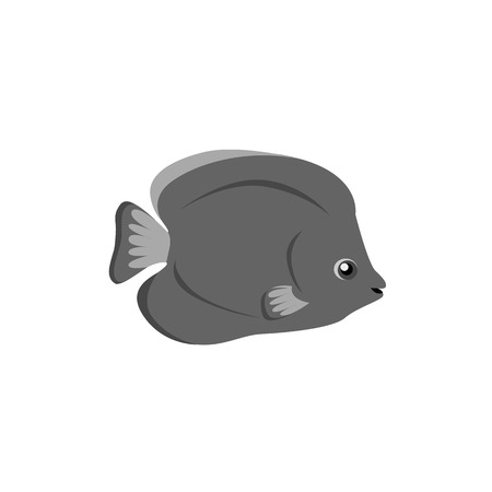 tail fin: Chaetodon larvatus ocean fish icon. Beautifully painted fish living in ocean or sea with tail and fin. Creating living under water with a black color isolated on white background. Vector illustration