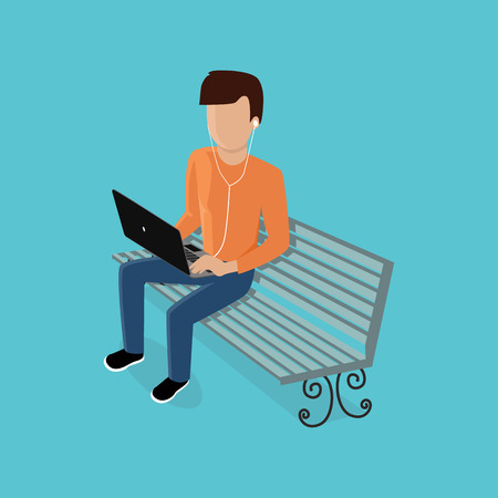 gadget: Man with gadget. Men use his device laptop, listening to music with headphone. Guy sitting on the bench with a laptop. Vector illustration Illustration