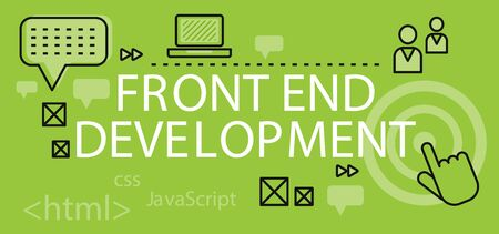 Front end development banner concept. Background or backdrop with elements icon on digital programming and development. Create proscale write scripts in java language design flat. Vector illustration Illustration