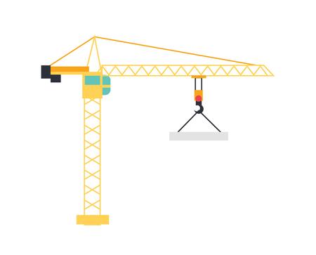 Grúa de elevación haciendo levantamiento de objetos pesados. Torre y el puerto levantadores. estilo del icono del vector plana. Grúa de construcción en blanco
