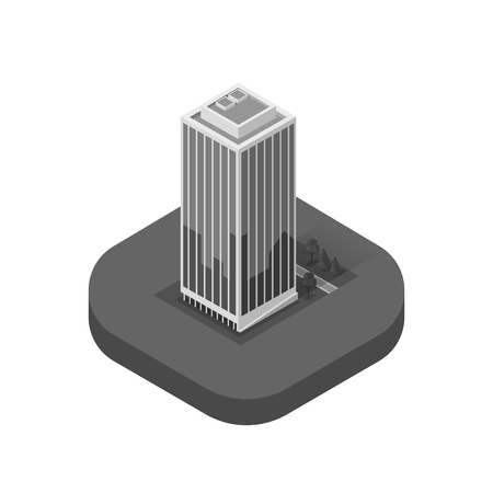 office building: Skyscraper logo building icon. Building and isolated skyscraper, tower and office city architecture, house business building logo, apartment office vector illustration