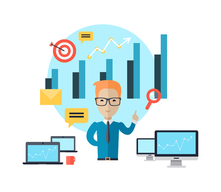 training consultant: Business training at office banner. Banner successful young man with glasses mentor consultant, coaching and shows business charts and graphs. Success growth data information. Vector illustration Illustration