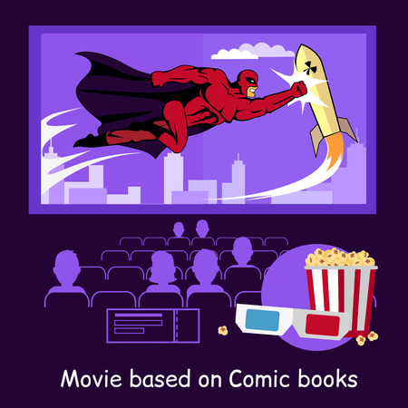 marvel: Movie based on comic books banner. Conceptual banner audience in a movie theater watching the premiere of the film based on a comic book with glasses and popcorn design flat. Vector illustration Illustration