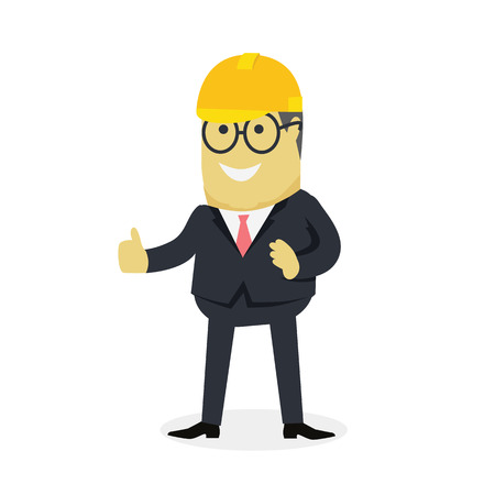 praise: Businesman show gesture thumb up. Young successful investor man in glasses do business hand gesture shows good job isolated on white background. Approval of praise and agreement. Vector illustration