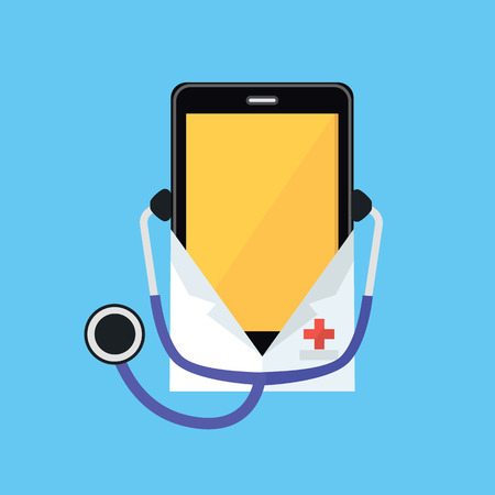 white coat: Phone in a white coat and stethoscope. Smartphone dressed in a doctor shape isolated on a blue background. Medical healthcare and medicine mobile consultant in uniform profession. Vector illustration