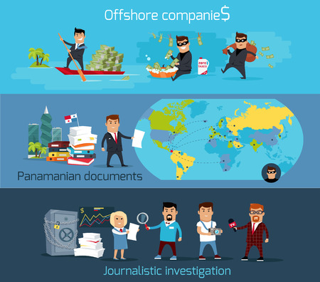 panamanian: Offshore companies, panamanian documents, jornalistic inestigation. Panama papers folder document.  Tax haven offshore company business people owners. Taxes are levied at low rate. Vector illustration Illustration