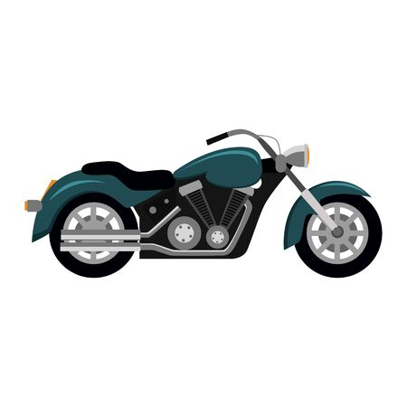 single seat: Cool motorcycle isolated on white background. Vehicle on two wheels, biker chopper. Transport modern motorbike with power engine. Classic bike for riding in a flat style. Vector illustration