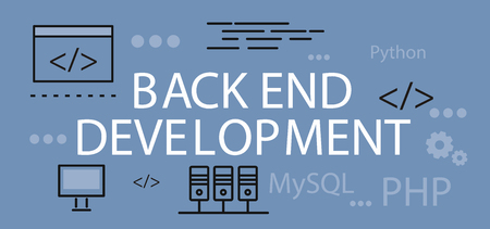 coder: Back end development banner concept. Background or backdrop with elements icon on digital programming and development. Create proscale write scripts language design flat. Vector illustration