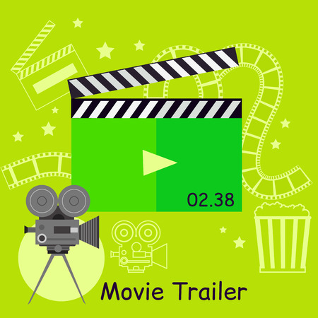 entertainment equipment: Movie trailer camera with slapstick. Movie film or trailer for cinema entertainment. Video cinematography poster. Action and clapperboard equipment design flat style concept. Vector illustration