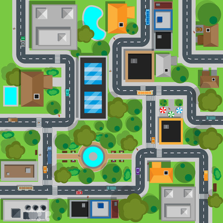 Map of city top view design flat. Map suburban settlement with private houses, narrow roads with cars and natural park design flat. Cars drive on sleeping residential district. Vector illustration Çizim