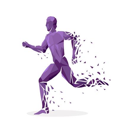gente corriendo: geométrica de partículas ejecute la gente baile. Partículas de color geométricas en forma de personas que están saltando de ejecución, tantsuyu y de pie en un lado. atletas de deportes. ilustración vectorial