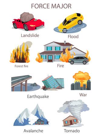 Overmacht natuurramp set. Inzameling en vernietiging in de vorm van noodsituaties. Overstroming aardverschuiving, brand in het huis of in het bos, aardbeving of tornado lawine. vector illustratie Stock Illustratie
