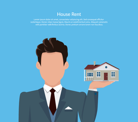 for rental: House for rent. Flat rent price design. Price and business, estate house, rental home building, property residential, deal and money, apartment search. Broker keeps house on palm. Vector illustration. Illustration