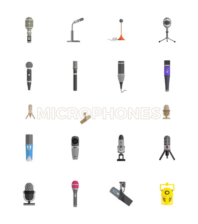 microphone stand: Microphone set design flat isolated icon, vintage microphone stand, sound media, record vocal musical web broadcasting microphone vector illustration