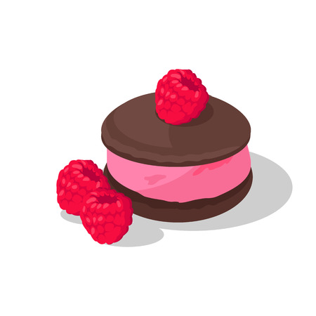 a portion: Part of cake with raspberry design. Birthday or wedding cake slice, chocolate dessert cookies, raspberry and chocolate, food sweet pie with, cream and fruit vector illustration