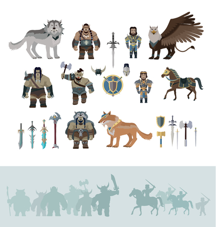 troll: Stylized fantasy characters isolated on white background