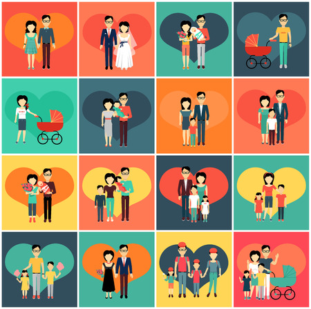 Family set. Man woman and child. Collection of various families. Couple man and woman bride and groom, father and small child in stroller, mother and father with son and daughter. Vector illustration