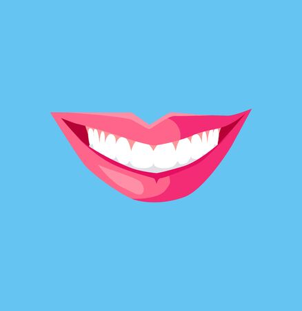 beauty smile: Smile with white tooth design flat. Dental and smile, teeth white, healthy dental, beauty and care smile, health and clean tooth, whitening human perfect toothy, smile white tooth illustration