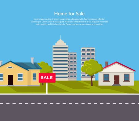 agent: House for sale. Sold home with for sale sign in front of beautiful new house. Vector illustration