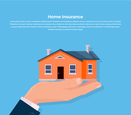 agent: House insurance. Insurance agent keeps the house on the palm and buyer gives the money dollars. Vector illustration Illustration