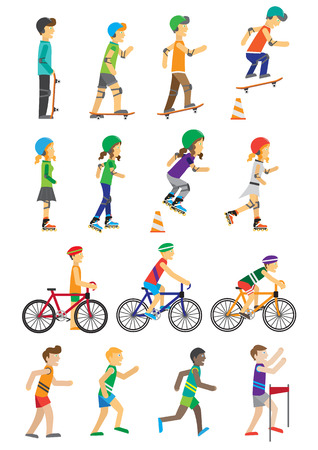 bicycle helmet: Sport people set of man and woman. Boys and girls roller skate and skateboarding and cycling flat design style. People run in the competition isolated on white background. Vector illustration