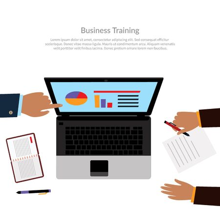 training course: Workspace training design flat. Business training course learning and train, education business office technology and management. Business analyzes business performance on laptop monitor Illustration