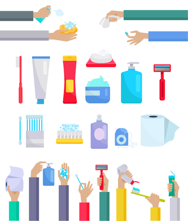 personal care: Accessories and hygiene items. Human hands are holding a variety of accessories for the care toothpaste and toothbrush, toilet paper, razor, cream and ear sticks design flat. Vector illustration Illustration
