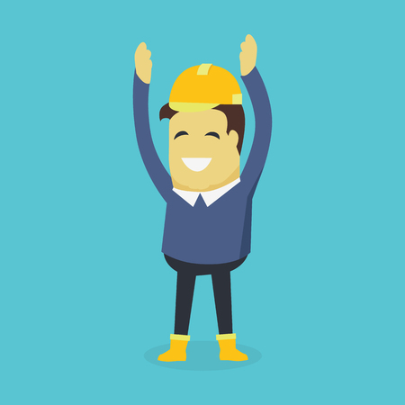 investor: Businesman show holds hands up. Young successful investor man in helmet do business hand gesture shows good job. Approval of praise and agreement. Vector illustration